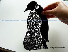 PERSONAL Mr Penguin Digital DIY Papercutting por AprilSummersArt
