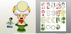Papercraft .pdo file template for Super Mario - Captain Toad Bust.