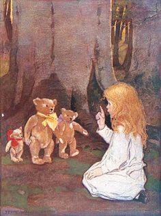 "Jessie Willcox Smith, from ""The Now-A-Days Fairy Book"" - lovely illustration. Jessie Willcox Smith, Goldilocks And The Three Bears, Vintage Children's Books, Vintage Magazines, Children's Book Illustration, Book Illustrations, Eeyore, Childrens Books, Illustrators"