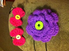 I just made Crochet flower & crocheted bows turned into hair bows and a head band by adding elastic. Decorated with buttons. Crochet Flowers, Fisher, Hair Bows, Crochet Earrings, Buttons, Band, Crafts, Beautiful, Decor