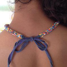 Rainbow Peyote Necklace - Turn into key fob or lanyard