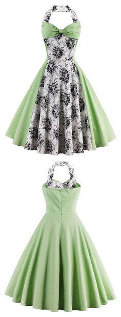 Vintage Halter Floral Flare Dress