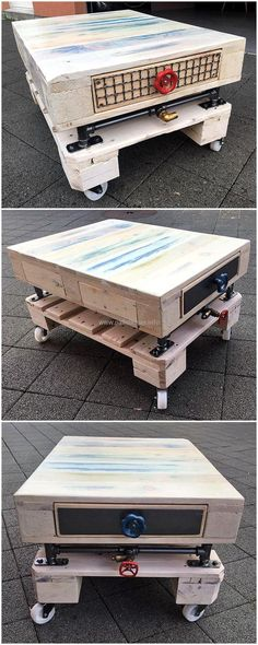 Another brilliant idea to have handy item with the help of excellent crafts built in an easy way.Wood pallet table withwheels seems to be kind for its mobility. We all nee such handy and kind projects for our needs.