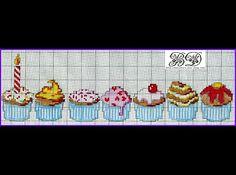Free Cupcakes Cross Stitch Chart Pattern