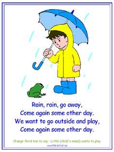 Rain, Rain Go Away Nursery Rhyme printable materials for a water cycle theme.