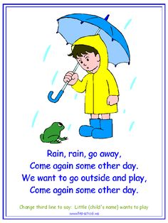 Rain, Rain Go Away Nursery Rhyme printable materials for a water cycle theme.