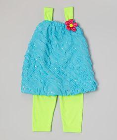Blue Sequin Tunic & Green Leggings - Infant, Toddler & Girls