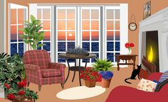 Vector image of apartment with stunning view and black cat. Outdoor Furniture Sets, Outdoor Decor, Stunning View, Clip Art, Sunset, Classic, Home Decor, Maids, Leaves