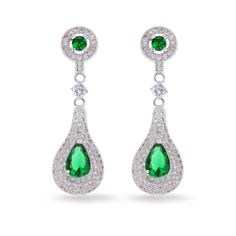 Find More Drop Earrings Information about Bling Jewelry Round Post and Pear Shaped Double Halo CZ Drop Earrings Silver Tone Created Emerald Teardrop Exotic Gourd Earrings,High Quality jewelry key,China earring holder jewelry display Suppliers, Cheap earring component from Dreamland Dresses & Accessories on Aliexpress.com