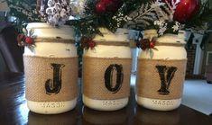 JOY burlap embellished Chalk painted mason jars. Annie Sloan Old White…