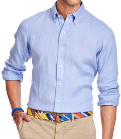 I like this shirt because it's made of linen so it would look nice just wearing it on it's own or with a sweater or jacket. POLO Ralph Lauren Button-Down Linen Shirt Mens Designer Shirts, Dressed To Kill, Mother Of Pearl Buttons, Button Down Collar, Style Men, How To Look Better, Shirt Designs, Polo Ralph Lauren, Sky