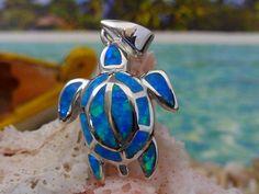 BLUE OPAL SEA TURTLE PENDANT