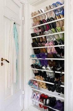 Shoe Rack Ideas - If you have a magnificent shoe collection in your house, a shoe organizer option is essential to keep them all under control. Closet Shoe Storage, Diy Shoe Rack, Shoe Closet, Closet Organization, Organizing, Shoe Racks, Rack Design, Shoe Organizer, Master Closet