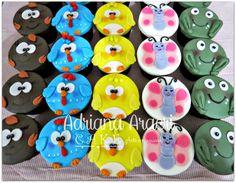 Cupcakes Galinha Pintadinha, Pirulitos de Chocolate da Galinha Pintadinha e Maça Decorada Galinha Pintadinha   Bolos Decorados