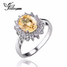 Jewelrypalace 케이트 다이애나 1.8ct 천연 황수정 약혼 헤일로 반지 925 스털링 실버 반지 고급 보석