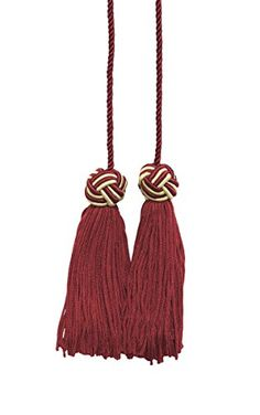 Cherry Red Light Gold Double Tassel Tassel Tie with 375 inch Tassels Spread 27Style BHCT COLOR 275 * You can get additional details at the image link.