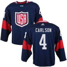 ab4bd401273 Team USA #4 John Carlson Navy Blue 2016 World Cup Stitched NHL Jersey  Olympic Hockey