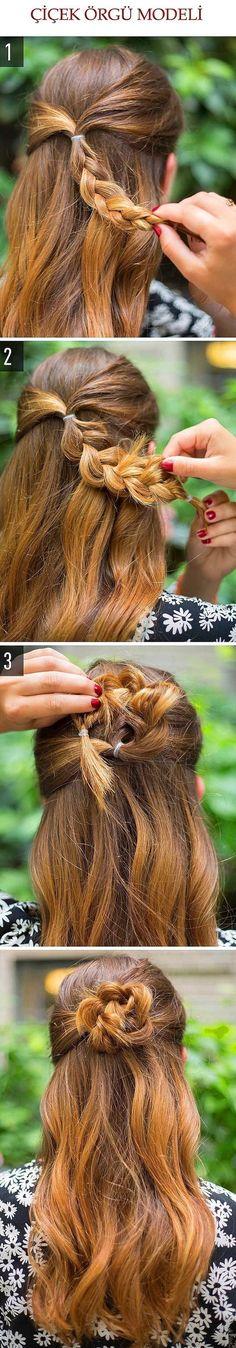 Çiçek Örgülü Saç Modeli @kadinedio #kadın #kadin #women #woman #saç #saçmodeli #sacmodeli #hairstyle #hair