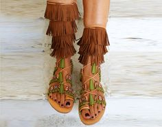 "Gladiator sandals/ boho sandals/ Handmade Leather Sandals/ ethnic sandals/ Fringed sandals/ Boho Flats/ Tie up Sandals ""MEXICO"""