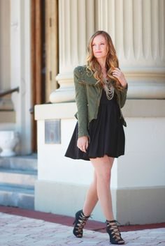 Studded jacket, skater dress, and lace up heels