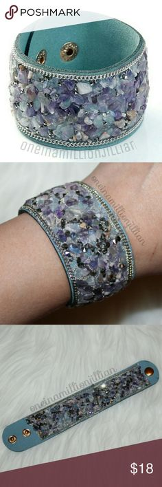 """Genuine Amethyst Stone Boho Style Bracelet New - Never Worn  One Size Fits Most - Adjustable  ◇ Measures approx 1 1/2""""wide & 8 1/2""""long ◇ Adjustable 2 snap closure at 7"""" & 7 3/4"""" ◇ Soft faux leather/suede bracelet covered in natural amethyst stone chips & sparkling rhinestones   Definitely a staple accessory to add the finishing touches to every outfit in your wardrobe throughout the year.  Check my page for more great items & discounts. #oneinamillionjillian Jewelry Bracelets"""