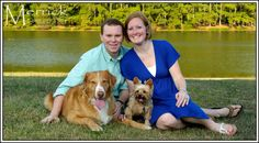 Family portrait with pets at Shelby Farms Park, Memphis