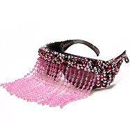 "Multi-pink and black Swarovski crystal ""Harem Girl"" sunglasses, with pink iridescent bead fringe by Jaesyn Burke.......Facebook.com/ jaesyn burke, jaesynjeans@yahoo.com, Twitter.com/ jzzybeee"