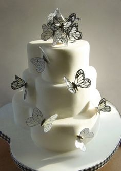 Black and white butterfly heart wedding cake