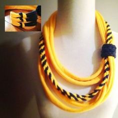Yellow & Navy West Virginia WVU Tshirt Infinity Scarf / Scarflace by… Yarn Necklace, Fabric Necklace, Scarf Jewelry, Textile Jewelry, Fabric Jewelry, Diy Scarf, Scarf Shirt, T Shirt Yarn, T Shirt Diy