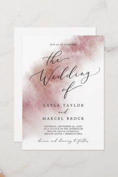 Watercolor Wash Burgundy The Wedding Of Invite. Click to customize with your personalized details today. Burgundy Wedding Invitations, Beautiful Wedding Invitations, Wedding Invitation Sets, Custom Invitations, Invitation Design, Invite, Watercolor Wedding, Floral Watercolor, Minimalist Wedding