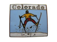 """COLORADO vintage lapel cloisonne enamel pin CO State ski mountains by VintageTrafficUSA  17.00 USD  A vintage Colorado pin! Excellent condition. Measures: approx 1"""" Add inspiration to your handbag tie jacket backpack hat or wall. Have some individuality = some flair! 20 years old hard to find vintage high-quality cloisonne lapel/pin. Beautiful die struck metal pin with colored glass enamel filling. -------------------------------------------- SECOND ITEM SHIPS FREE IN USA!!! LOW SHIPPING…"""