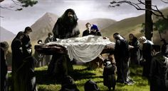 Dumbledore's Funeral - Unused Harry Potter concept art by Adam Brockbank