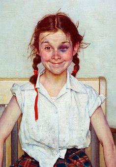 """Norman Rockwell """"Юная леди с синяком"""" (Девочка с черным глазом). Холст, масло, 1953 год. Обложка """"Ивнинг пост"""" 23 мая 1954 года."""