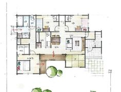 庭を取り込むコの字型の平屋 Japanese Modern House, Japanese Home Design, Japanese Architecture, Interior Architecture, Plan Sketch, Sims House, Minecraft Houses, House Floor Plans, House Design