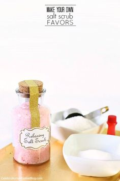 Make these relaxing salt scrub favors for baby or bridal showers, or hostess or birthday gifts. Recipe and tips here...