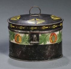 Paint-decorated Oval Tinware Trunk