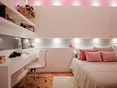 The perfect bedroom for girls: white + pink