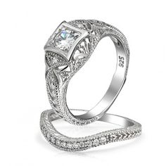 Beautiful Ring Set: Silver and CZ on BlingJewelry