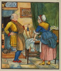 Illustration for 'The Elves and the Shoemaker' - shoemaker showing his wife shoes for the elves  Halkett, George Roland
