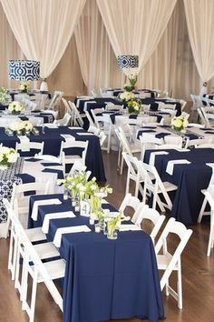 Navy tablecloth, white napkins, floral arrangements and votives // Classic wedding decor ideas: Navy and white with geometric accents White Wedding Cakes, Blue Wedding, Gray Weddings, Wedding Bells, Nautical Wedding, Rustic Wedding, Navy Centerpieces, Wedding Events, Wedding Colors