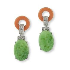 Kenneth Jay Lane Coral And Jade Art Deco Clip Earring ($140) ❤ liked on Polyvore featuring jewelry, earrings, coral, kenneth jay lane jewelry, earrings jewelry, jade earrings, jade jewelry and clip back earrings
