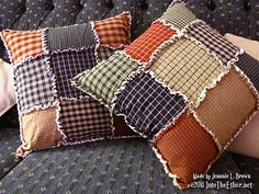 Rag Quilted Pillows from Homespun   Into the ether.net Rag Quilted Pillows from Homespun   My Anything Creative Place