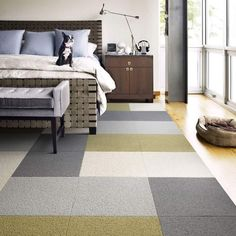 Traditionally, the important things to aspire to in a home was wall-to-wall carpet. And also while wall-to-wall is definitely comfy as well as brings with it a number of benefits, as trends have . Read Best Carpet Tiles Ideas for Your Dream House Contemporary Bedroom, Modern Bedroom, Bedroom Decor, Master Bedrooms, Floor Carpet Tiles, Wall Carpet, Diy Carpet, Office Carpet, Carpet Squares