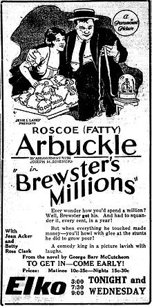 Brewster's Millions is a lost 1921 American comedy film starring Fatty Arbuckle Two Movies, Classic Movies, Roscoe Arbuckle, Silent Film Stars, Comedy Films, Screenwriting, Film Posters, Print Ads, True Words
