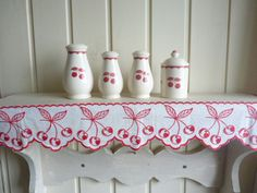 Cruet set and Linen Shelf trim vintage french Red and white