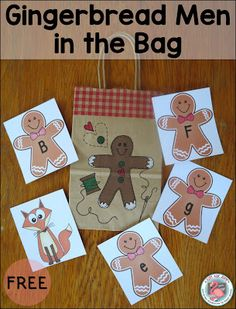 These free gingerbread man letter and number cards are perfect for playing review games in preschool and kindergarten.