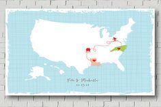 Wedding Guestbook Idea - A US Map Poster by MarshalmellowInkLLC. #guestbook #weddingstationery  #reception