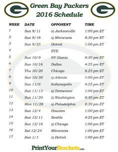 Printable Green Bay Packers Schedule - 2016 Football Season