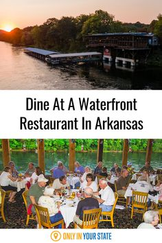 Enjoy a meal on the water at this beautiful, remote restaurant on the White River in Arkansas. You'll love the delicious food, amazing views, nature, wildlife, and more. It's perfect for family dining or a romantic date night meal! Best Bucket List, Date Night Recipes, Waterfront Restaurant, Hidden Beach, Romantic Dates, Lake View, Great View, Natural Wonders, Arkansas