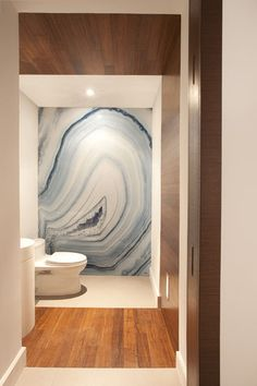"modern bathroom by DKOR Interiors Inc.- Interior Designers Miami, FL; says ""This outrageously stunning agate wall is actually a large-scale waterproof panel created by Alex Turco.""  Don't think it's in the shower; think it's a decorative wall at the end of the bathroom beside the toilet."